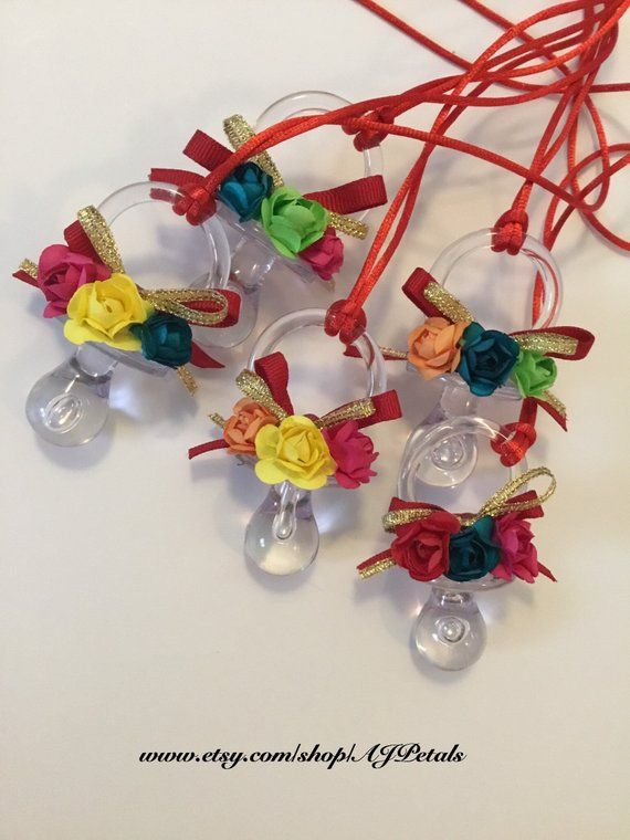 24 Mexican Theme Baby Shower Mexican Flower Pacifiers Baby Shower