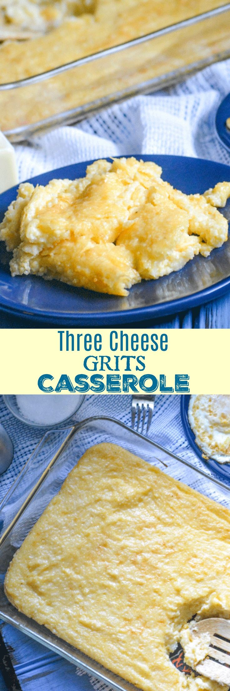Breakfast or brunch is always a meal to look forward to. Get your fix in this creamy Three Cheese Grits Breakfast Casserole. Served with your favorite meat, and eggs, it's a delicious breakfast dish made to serve a crowd.