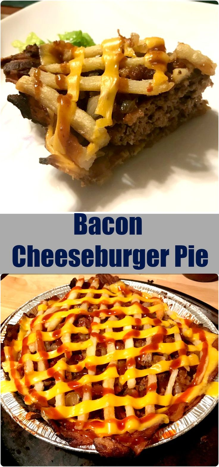 A delicious combination of dinner and dessert, I present to you the Bacon Cheeseburger Pie.  While there is nothing dessert about this besides the shape, you'll want to eat this one for breakfast, lunch, dinner, AND dessert. irubmymeat.com