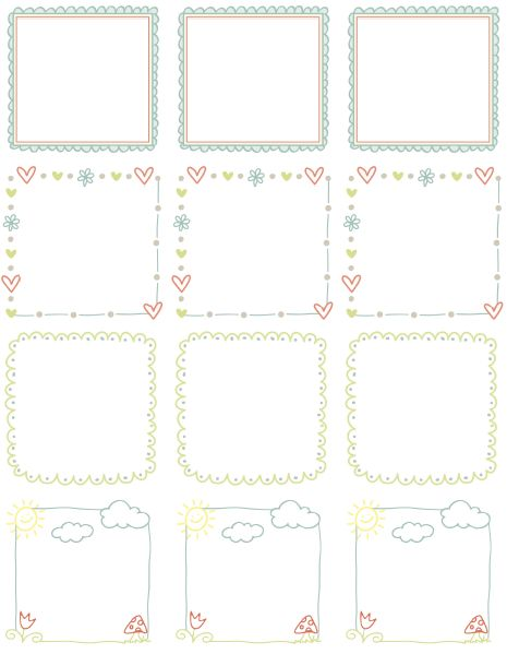 These really cute free printable Doodle Borders for labels.
