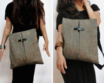 Convertible backpack Messenger bag Gray-brown jute Black canvas bag Handmade women bag Fashionable chic bag Cool city bag Gift for her