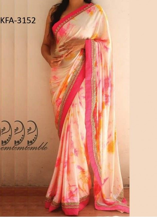 Buy Georgette Off White & Pink Printed Replica Saree