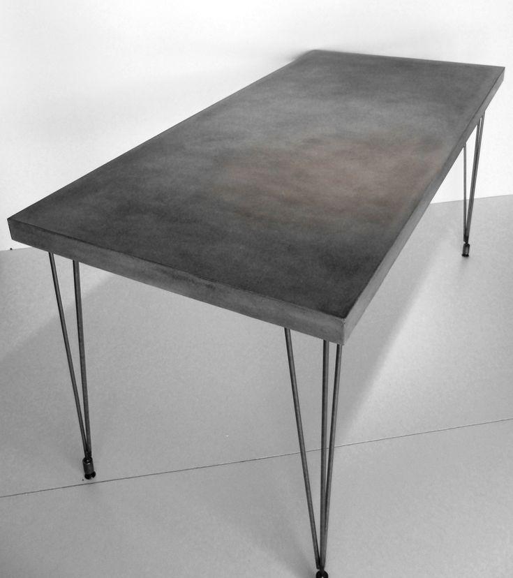 Concrete desk w hairpin legs diy table legs coffee