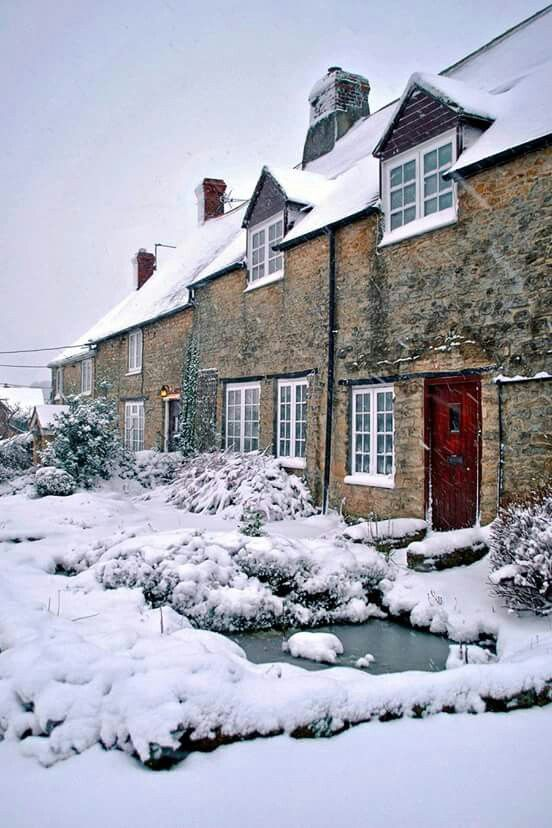 A row of stone cottages in Wincanton, Somerset, England