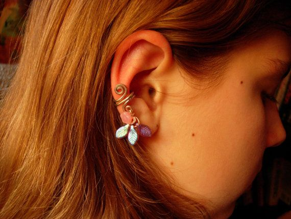 Silver ear cuff with pink glass flower and three by jhammerberg, $6.50