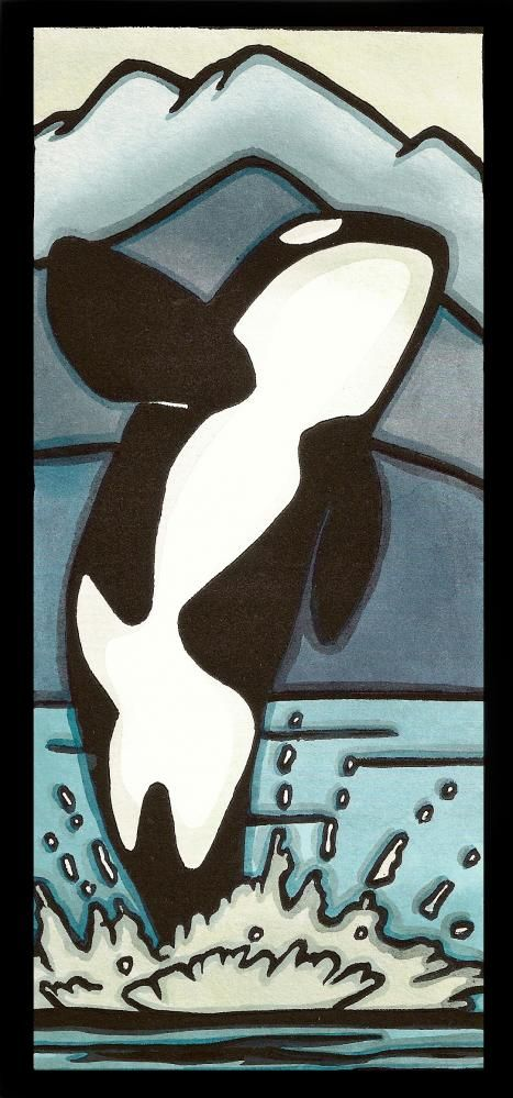 Orca Whale - for that water animal lover in your life! Great for an ocean themed kids room. Ocean, Sea Life - Sarah Angst Original Art #sarahangst www.sarahangst.com