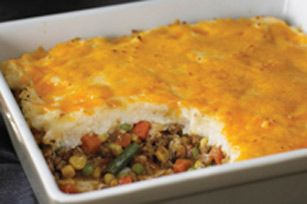 Easy shepards pie .... Easy ingredients....1 lb ground beef, 2 c hot instant mash potatoes, 4 oz cream cheese, 1 c cheddar cheese, 4 c frozen mixed veggies, 1 c brown gravy, 2 garlic cloves.  Meat, gravy & veggies mix together spread on bottom of pan then Mix potatoes, cream cheese, & garlic and spread on top then top with cheddar cheese, 350 for 45-1 hour