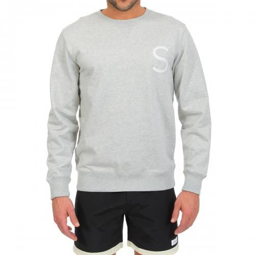 COTTON SWEATSHIRT WITH CHEST LOGO Bowery Chest S cotton sweatshirt featuring a round neck, long sleeves, ribbed cuffs and bottom, Saturdays Surf NYC logo stitched on the chest. COMPOSITION: 100% COTTON. Our model wears size L, he is 189 cm tall and weighs 86 Kg.