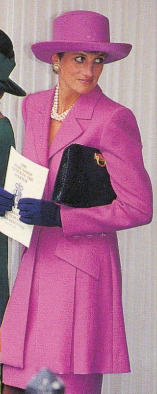 My fuschia day look?: June 14, 1993: Princess Diana at the Order of the Garter Ceremony in London.