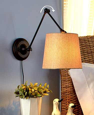 add light almost anywhere with an adjustable swing arm lamp this wallmounted lamp