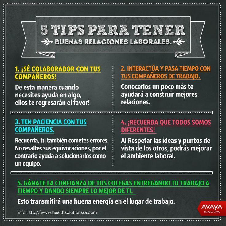 5 consejos para tener buenas relaciones laborales #infografia #infographic #rrhh vía: www.healthsolutionssa.com
