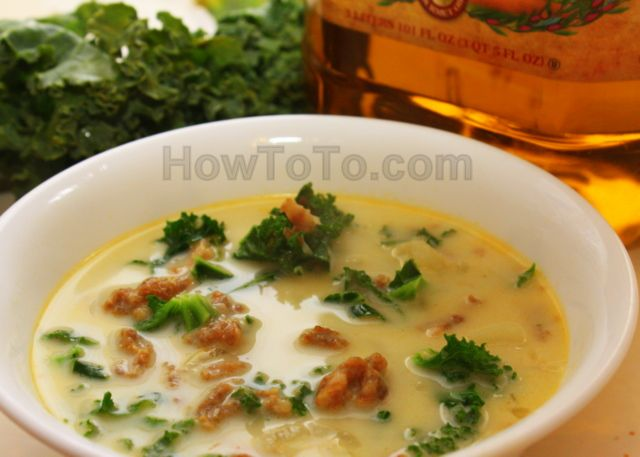 Recipe similar to Olive Garden's Zuppa Toscana soup (sausage and kale in a potato soup)