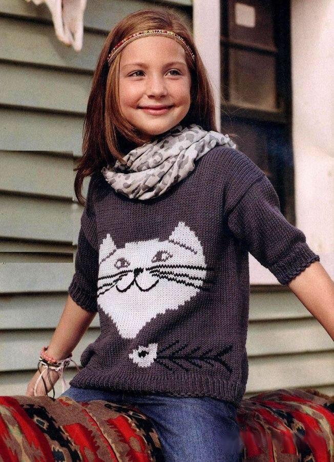 Свитер для детей с рисунком кота обязательно понравится вашему ребёнку. Мы постарались как можно подробнее рассказать, как вязать изделие. Схема вязания ...