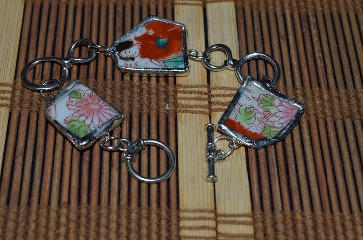 """Recycled China & Flatware Bracelet Asian Floral & Geisha 8"""" #Unknown #Floral"""