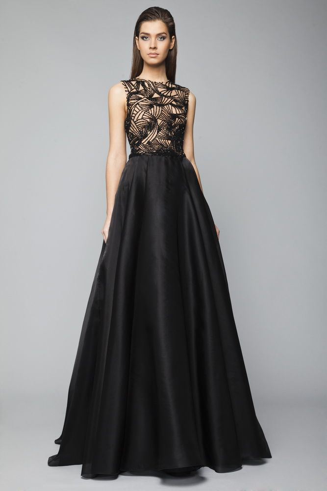 Black princess evening gown in Silk Organza with a Skin embroidered bust featuring crystal-beading foliage, bateau neckline and an open back.