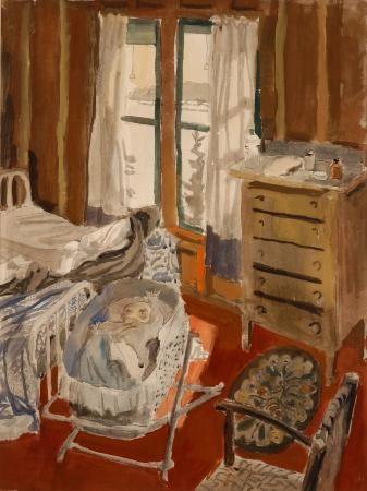 """Katy in Crib,"" Fairfield Porter, watercolor on paper, 26 3/8 x 19 15/16"", Parrish Art Museum."