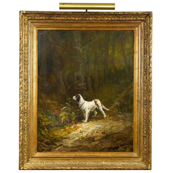Lovely portrait  of a dog, framed oil on canvas | From a unique collection of antique and modern paintings at…