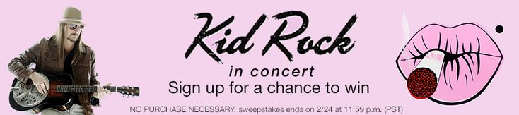 Win a flyaway package to attend Kid Rock in concert, signed guitar and more!