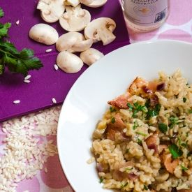 Baked Bacon and Mushroom Risotto - 388 calories per serving!