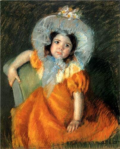 Мэри Кассат. Девочка в оранжевом платье. 60 x 72,77 см. Пастель, бумага. Частная коллекция