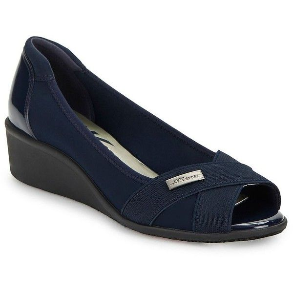 Anne Klein Women's Jetta Fabric Wedge Pumps (3.930 RUB) ❤ liked on Polyvore featuring shoes, pumps, navy, navy blue shoes, navy wedge shoes, wedge shoes, sports shoes and navy blue peep toe pumps