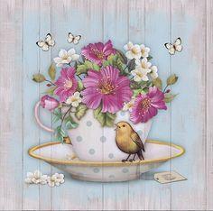bird cup butterflies and flowers