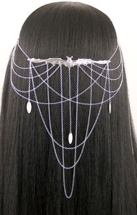silver bat headpiece with chains <3
