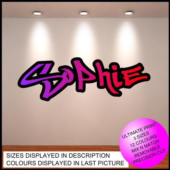 Personalised Custom Graffiti Name Wall Art Stickers Decor