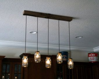 7 Light DIY Mason Jar Chandelier Rustic by IronLumberandLight