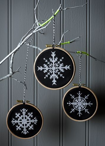 Cross stitch - white snowflake on dark background