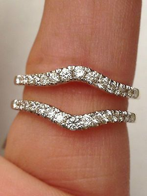 NEW Solitaire Enhancer Diamonds Ring Guard Wrap 14k White Gold Wedding Band                                                                                                                                                     More