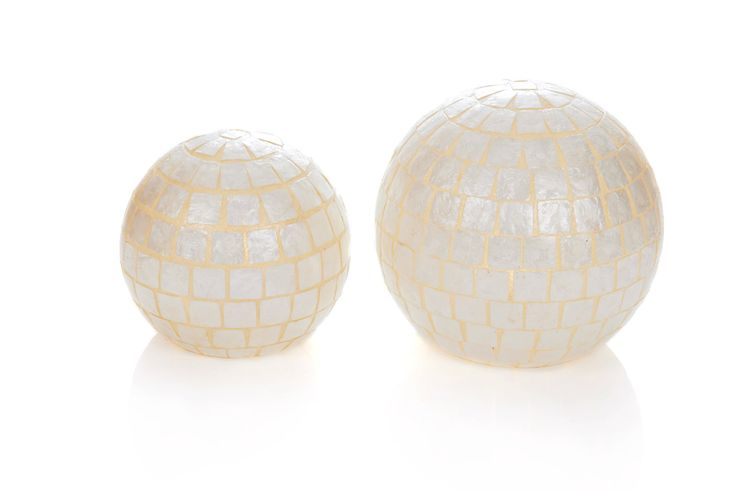 Modern White Square Capiz Globe Lamps by Collectiviste on Etsy