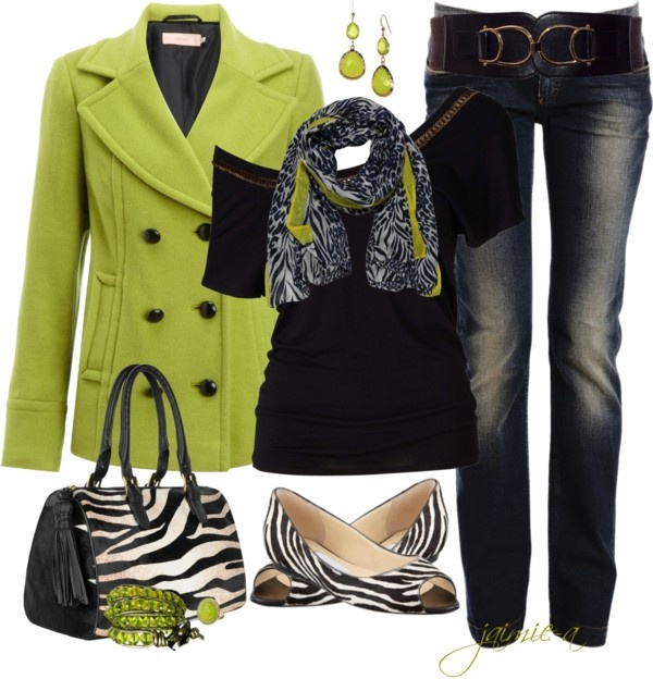 """""""Lime & Zebra"""" by jaimie-a on Polyvore LOVE the jacket....oh YES!"""