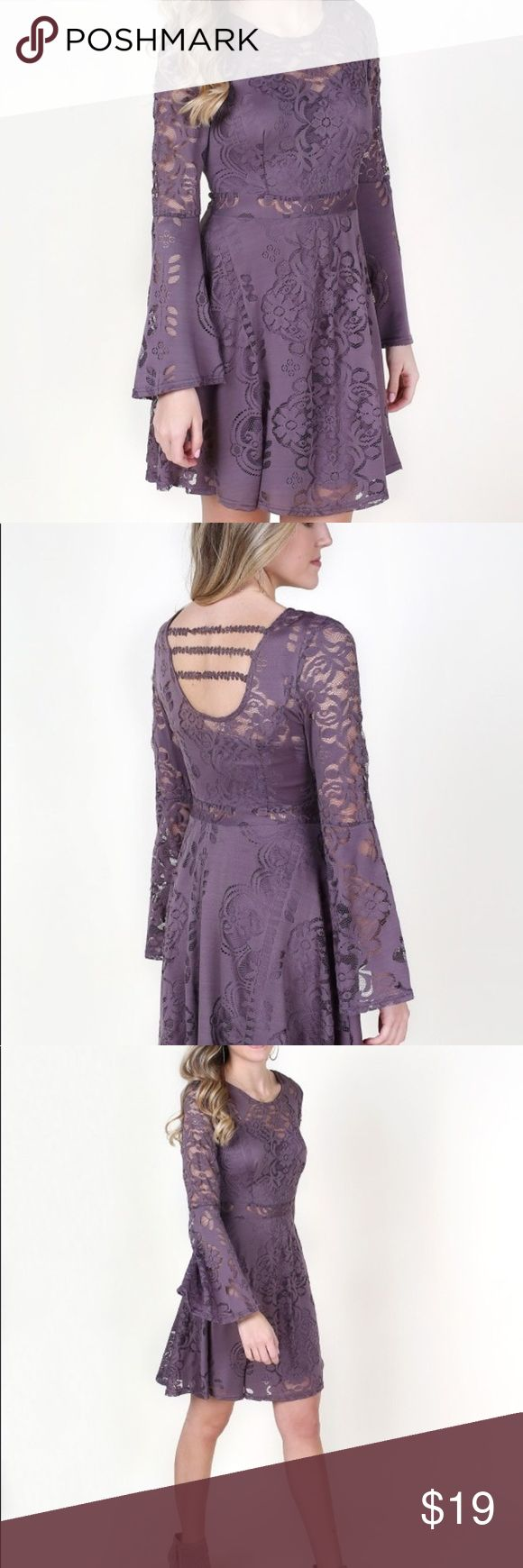 """Altar'd State Purple Lace Bell Sleeve Dress 34"""", 100% nylon. Fitted with long sleeves. Hand wash cold Altar'd State Dresses Long Sleeve"""