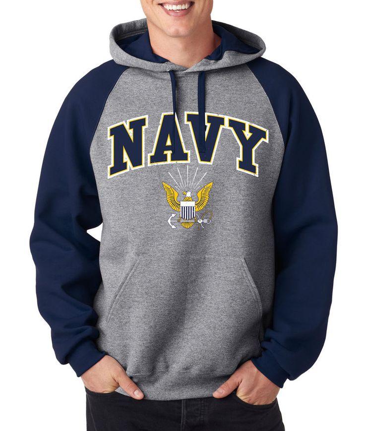 US NAVY RAGLAN HOODIE United States Crest Military Pullover Sweatshirt Hoody USA #RockCityThreads #Hoodie