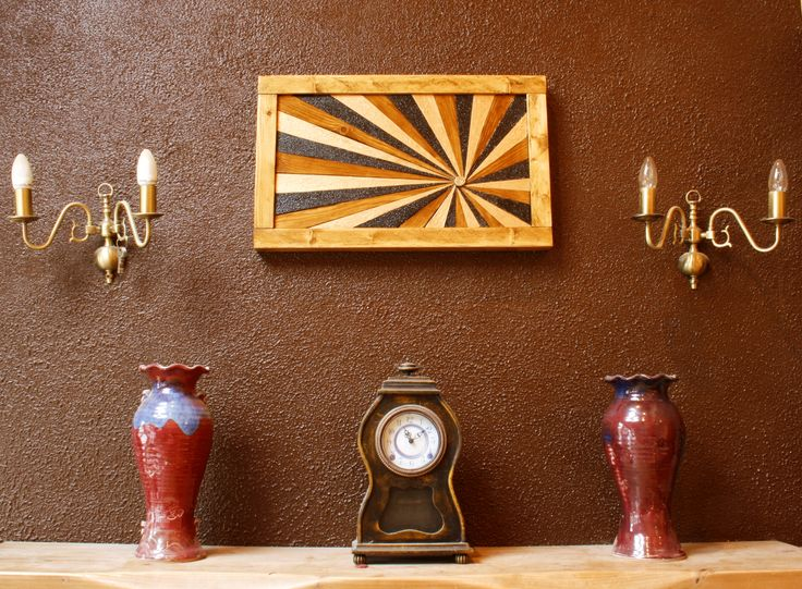 wooden wall piece made from reclaimed timber.