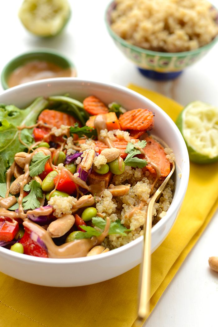 Get ready for meal prep madness! These Thai Coconut Quinoa Bowls are out of this world- a vegetarian meal packed with protein, veggies, and flavor!