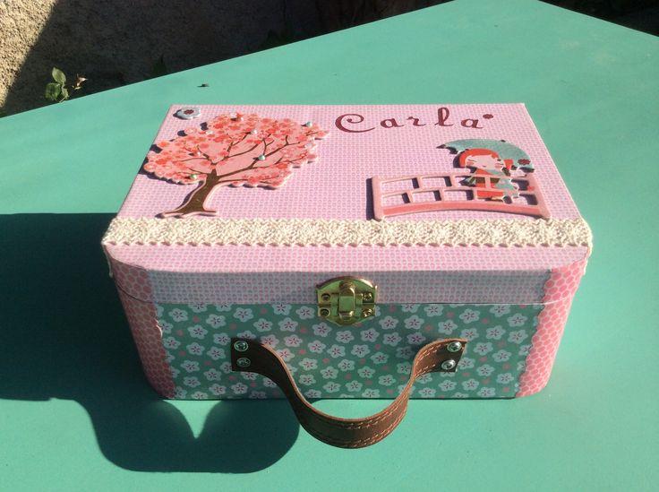Caja de madera decorada con papeles scrap preciosas - Cajas de madera decoradas ...