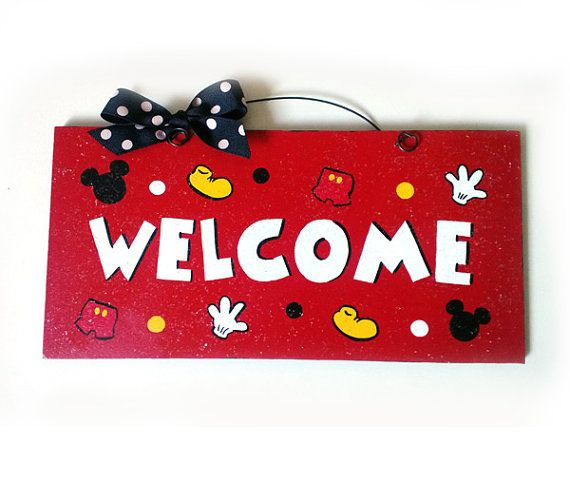 Welcome Sign. Mickey Mouse parts with clear glitter. on Etsy, $12.00