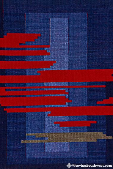 """Your Daily Dose of Inspiration! Moving On, original handwoven tapestry by Skaidrite McKeag, 26.5"""" x 37.25"""", 100% hand-dyed wool."""