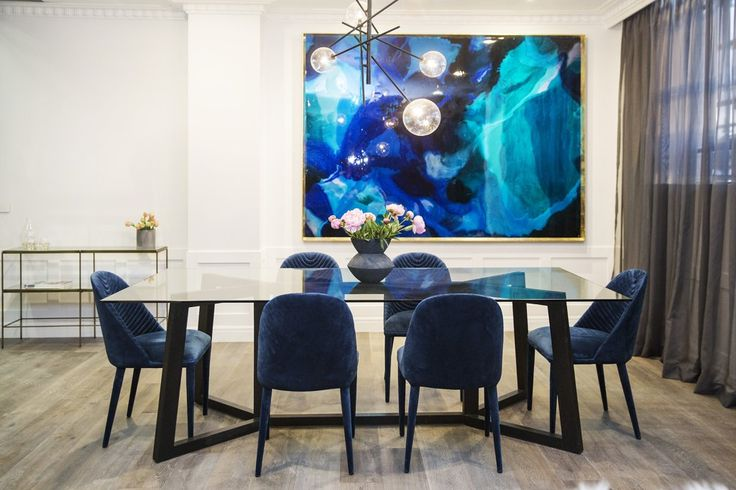 Julia and Sasha's dining room the Block 2016 - love the chairs and painting