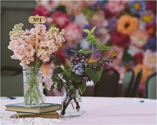Lynchburg Virginia Sweet DIY Wedding as seen on Hill City Bride Centerpiece Budget Flowers Photography – Kate Coogan Art & Image