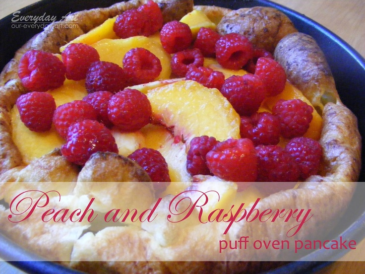 Peach and raspberry puff oven pancake | Food Recipes | Pinterest