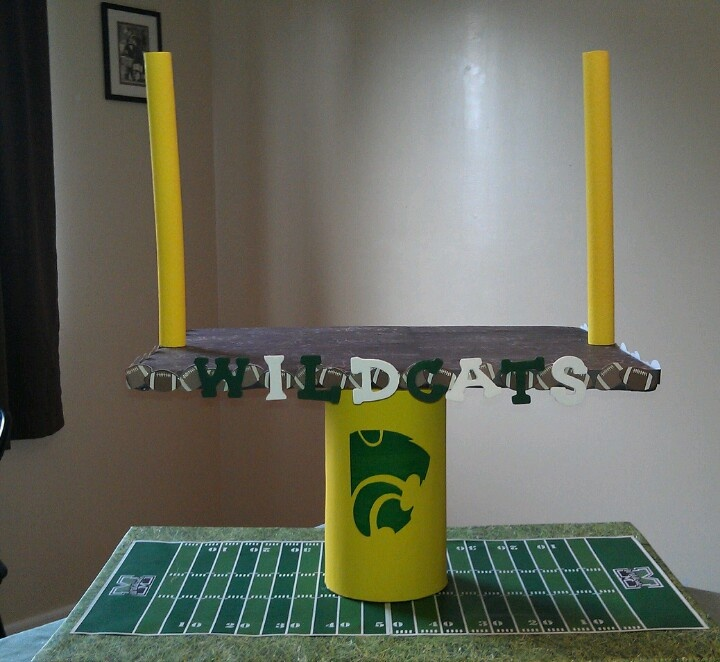 My homemade school football cupcake stand check out my for Creation stand