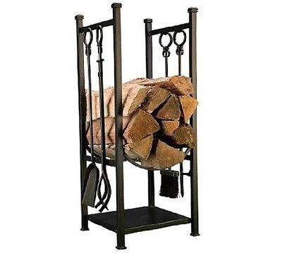 Firewood Storage Bin Rack Tool Set Wood Log Holder Indoor Fireplace Black Steel