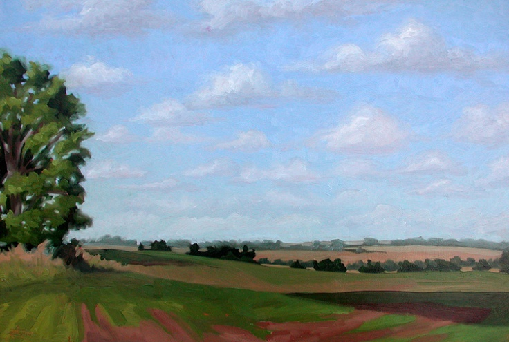 """""""Orbslade"""" by Jerry Moon Fine Art-Oil-Landscape-Painting-Kansas City, Missouri-Midwest-Clouds-Sunny-Trees-Blue-Green-Serene"""