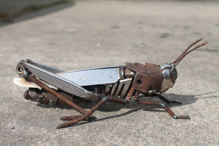 Scrap Metal Sculpture of a Field Grasshopper,Reclaimed Repurposed Recycled Art, Original and Unique by GreenHandSculpture on Etsy https://www.etsy.com/listing/203773691/scrap-metal-sculpture-of-a-field