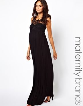 Just ordered this for the MARDI GRAS BALL! I don't even care that it's jersey material. I'm pregnant and can dress it up with beads. (ASOS New Look Maternity Lace Insert Jersey Maxi Dress)