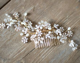 Boho Gold Blume Blatt Haar Rebe, Bridal Haar Kamm, Gold Vintage Floral Haare kämmen, Hochzeit Gold Haare Rebe verlässt, Boho Headpiece -