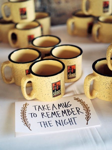 10 Budget-Friendly Wedding Favors - Love the idea of giving out a mug for a fall or winter wedding!